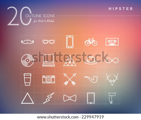 Hipster vintage fashion outline icons set for web and mobile app. EPS10 vector file organized in layers for easy editing. - stock vector