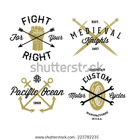 hipster vintage label, logo, badge for your business or t-shirt print with arrow, fist, sword, anchor, spanner, wheel - stock vector