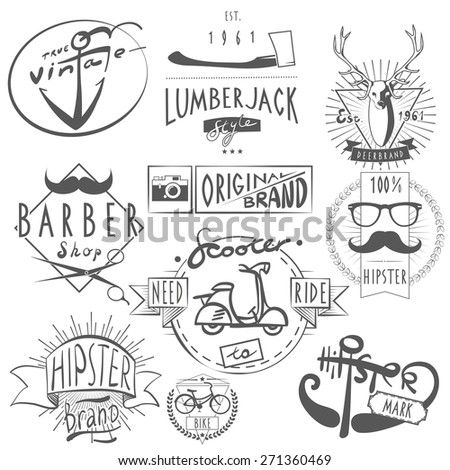Hipster vintage original logos labels set in black with scooter bicycle and barbershop abstract vector isolated illustration - stock vector