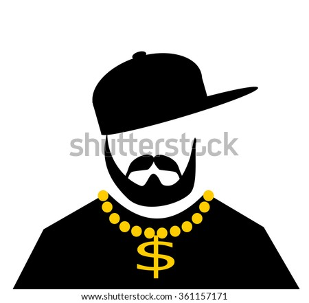 hipster wearing necklace and baseball cap - stock vector