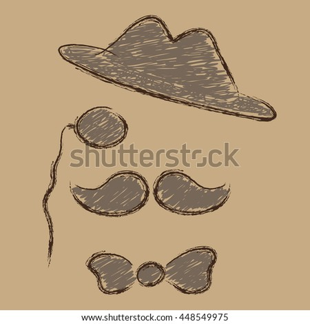 Hipster with mustache, top hat, bow tie and glasses on brown background.