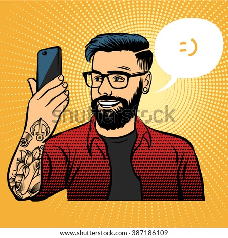 hipster with tattoos makes selfie on your smartphone. Retro illustration of a pop art style