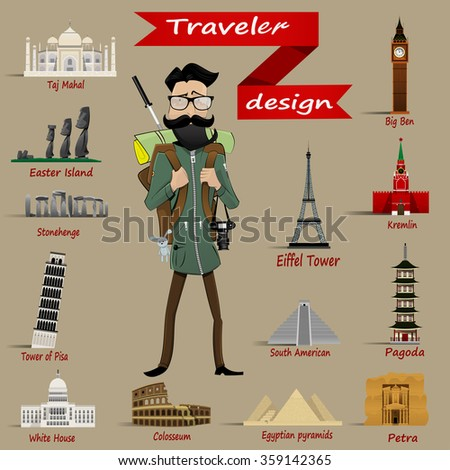 Hipster with  travel backpack and icons  of different world miracles such as Big Ben, Leaning Tower, Coliseum, Kremlin, pyramids. Easy to edit Vector - stock vector