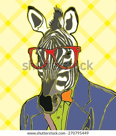 hipster zebra vector illustration - stock vector