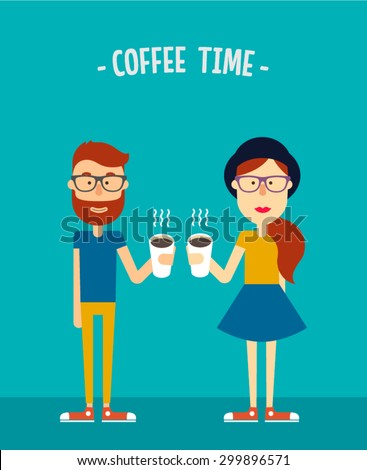 Hipsters couple. Boy and girl with paper cups of coffee. Flat illustration. Vector stock. - stock vector
