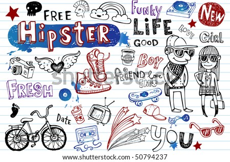 Hipsters doodle set - stock vector