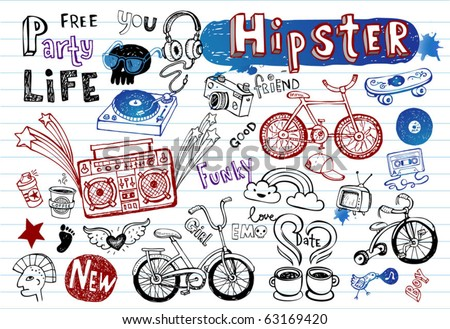 Hipsters doodle set  part 2 - stock vector