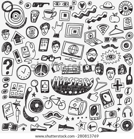 hipsters doodles set , set vector icons in sketch style - stock vector
