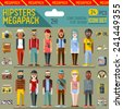 Hipsters megapack. Flat design. Long shadow. Vector illustrations. Icon set 2nd. - stock vector