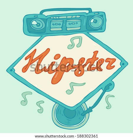 hipsters music (vintage boombox) banner vector illustration, hand drawn - stock vector