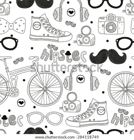 Hipsters seamless pattern. Vector.