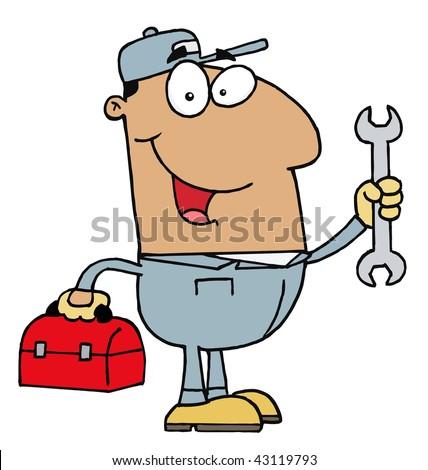 Hispanic Mechanic Guy - stock vector