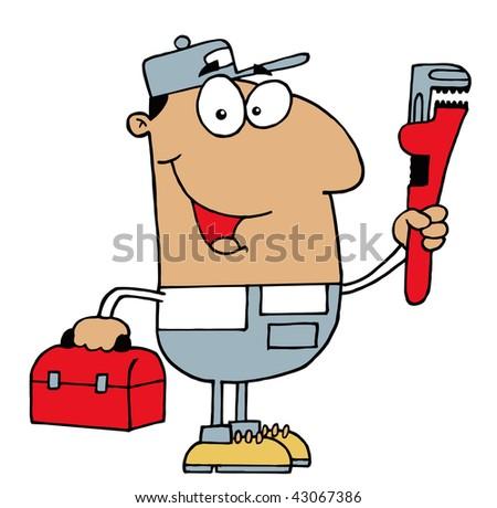 Hispanic Plumber Man - stock vector