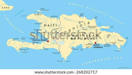 Elegant Hispaniola Political Map With Haiti And Dominican Republic, Located In Caribbean  Island Group, Greater