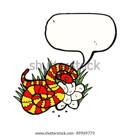 hissing snake guarding nest illustration - stock vector