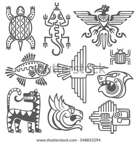 Historic Aztec Inca Vector Symbols Mayan Stockvector 548833294