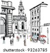 Historic old buildings, interesting architecture, an outdoor restaurant with sun umbrellas  and pedestrians in Stockholm, the charming capital city of Sweden.  - stock vector