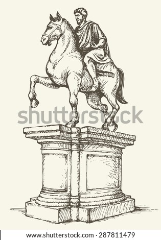 Historic statue of Marc Aurelius on Palazzo Senatore of Campidoglio in Roma, Italia, Europe. Vector freehand linear ink drawn backdrop sketch in doodle antiquity style pen on paper with space for text - stock vector
