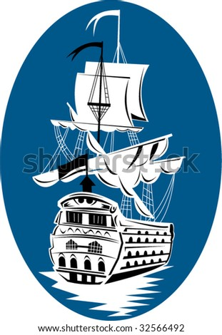Historic tall sailing ship on blue background - stock vector