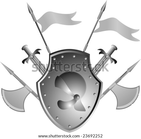 Historical armour of the ancient knight collected in a panel on a wall - stock vector