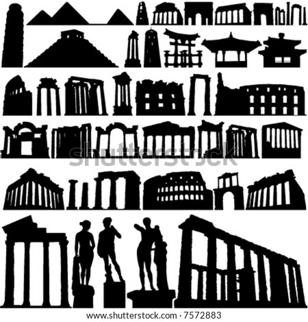 historical building and city vector - stock vector