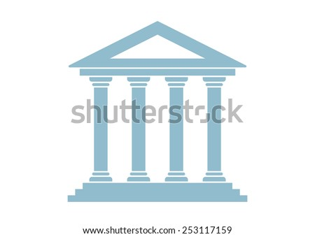 Historical building icon on white background