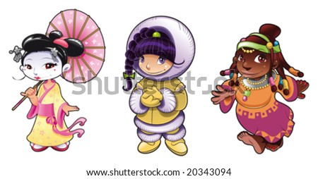 Historical characters. Funny cartoon and vector illustration - stock vector