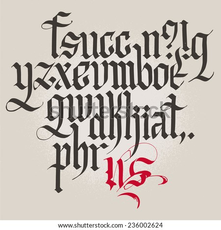 Historical Gothic Handwriting Alphabet Lowercase