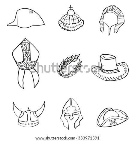 Historical headwear - stock vector