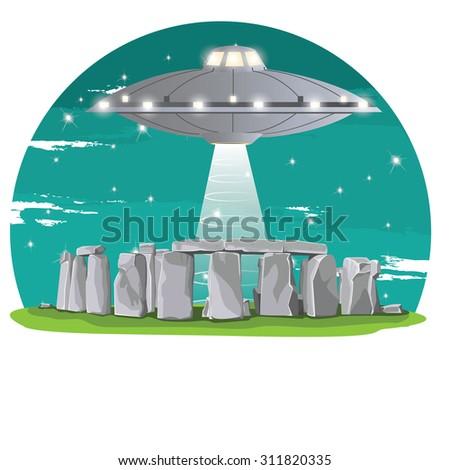Historical monument Stonehenge, Alien spaceship - stock vector