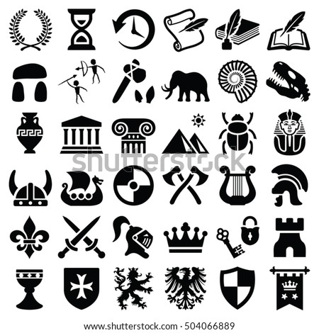 History and culture icon collection - vector silhouette