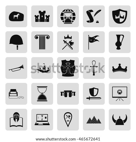 History Culture Symbols Simple Icon Set Stock Vector Royalty Free