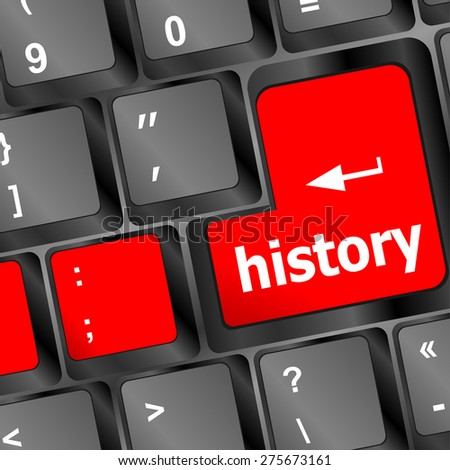 history button on computer keyboard pc key vector