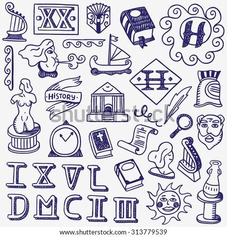 history doodles - stock vector