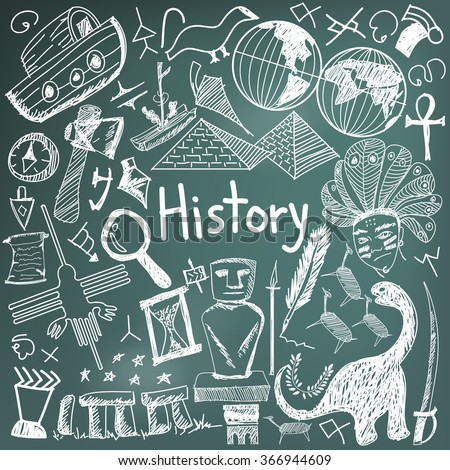 History education subject chalk handwriting doodle icon of landmark location culture sign and symbol blackboard background paper used for presentation title with header text, create by vector - stock vector