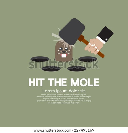 Hit The Mole Fun Game Vector Illustration - stock vector