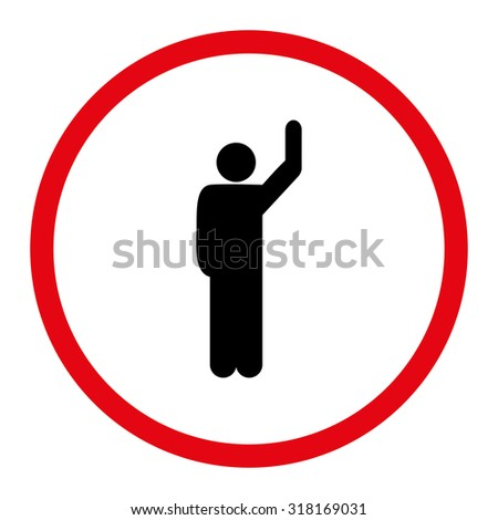 Hitchhike vector icon. This rounded flat symbol is drawn with intensive red and black colors on a white background.