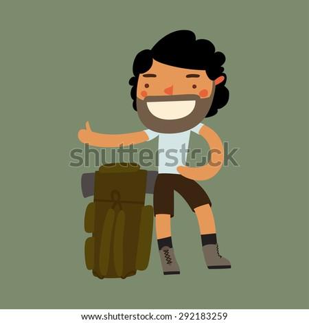 hitchhiking character. tourist hiker traveler. vector illustration - stock vector