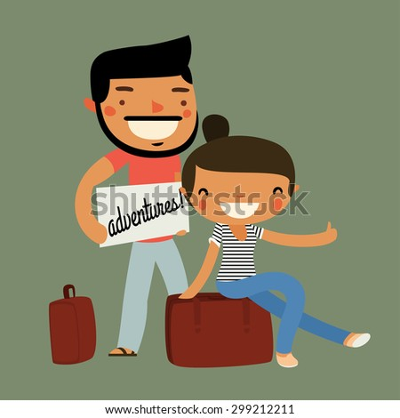 hitchhiking travelers couple. cute characters. vector illustration - stock vector