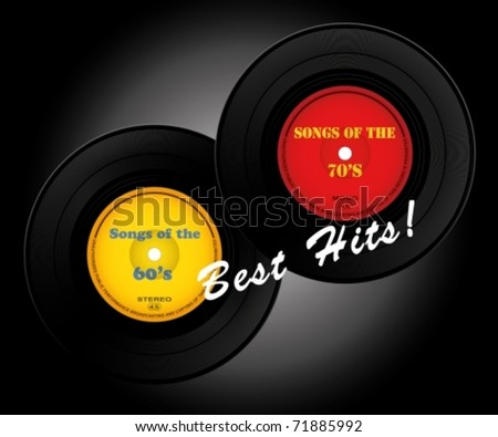 hits records - stock vector