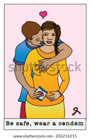 HIV Aids awareness campaign featuring a young African man embracing an African woman and holding a condom. - stock vector