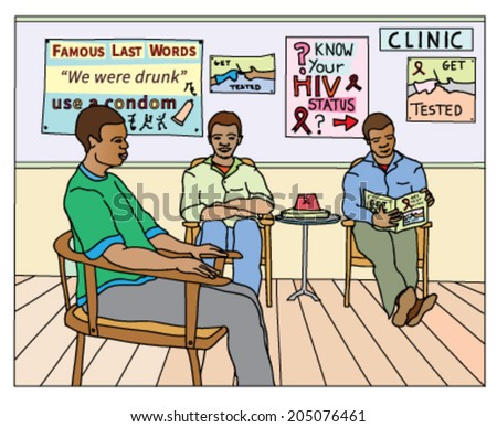 HIV-aids awareness campaign featuring several black men in a medical clinic waiting to be tested. - stock vector
