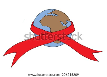 HIV Aids awareness campaign featuring the earth with an Aids ribbon around it. - stock vector