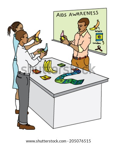 HIV-aids awareness campaign showing a teacher in a classroom with teenagers, using a banana to demonstrate how to put on a condom on. - stock vector