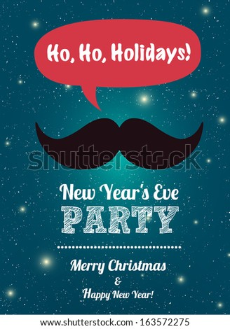 Ho,Ho, Holidays, Mustache, Merry Christmas, background and greeting card, hipster style
