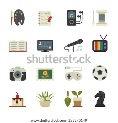 Hobbies Icons with White Background - stock vector