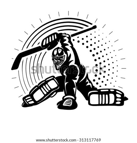 Hockey goaltender. Illustration in the engraving style - stock vector