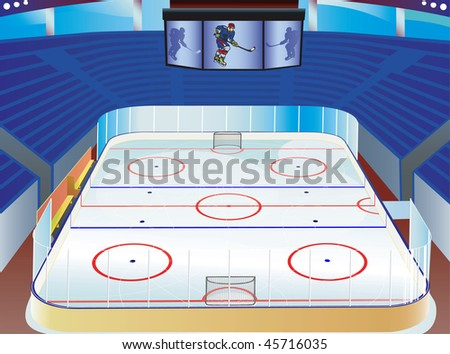 Hockey  ice stadium with detailed information screen, field, goals and tribunes. vector illustration. - stock vector