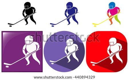 Hockey icon in three designs illustration