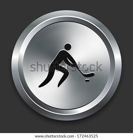 Hockey Icon on Metallic Button Collection - stock vector